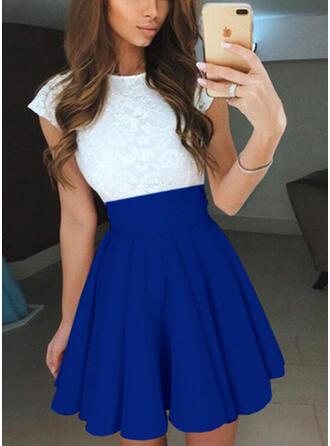 Lace/Color Block Short Sleeves A-line Above Knee Vintage/Casual/Elegant Dresses