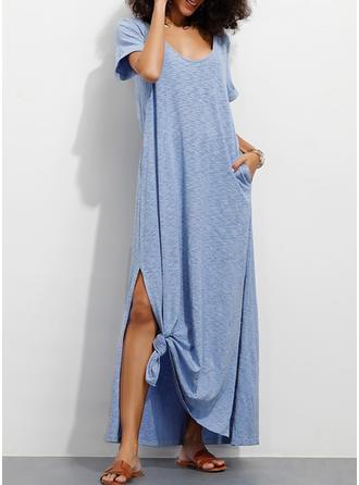 Solid Short Sleeves Shift Casual/Vacation Maxi Dresses