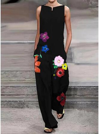 Floral Print Round Neck Sleeveless Casual Elegant Jumpsuit