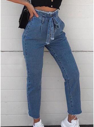 Pockets Shirred Plus Size midi Casual Elegant Sexy Denim & Jeans