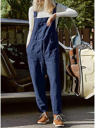 Pockets Plus Size Long Casual Plain Jumpsuits & Rompers