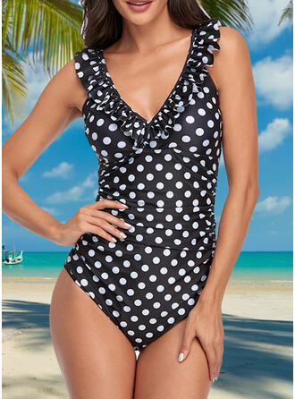Dot Micro Strap V-Neck Elegant Classic One-piece Swimsuits