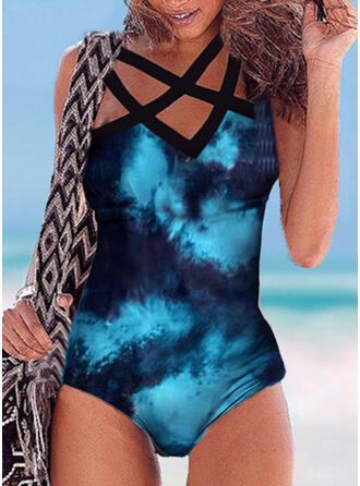 Hollow Out Cross High Neck Sexy Sports Casual One-piece Swimsuits