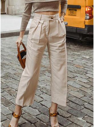 Solid Pockets Shirred Long Elegant Solid Plain Pants