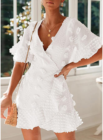 Solid 1/2 Sleeves/Flare Sleeves A-line Above Knee Casual/Vacation Dresses