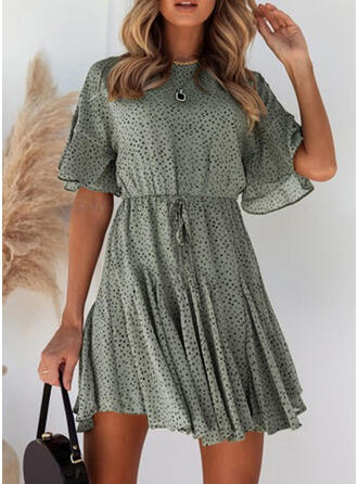 Print Short Sleeves/Flare Sleeves A-line Above Knee Casual/Vacation Dresses