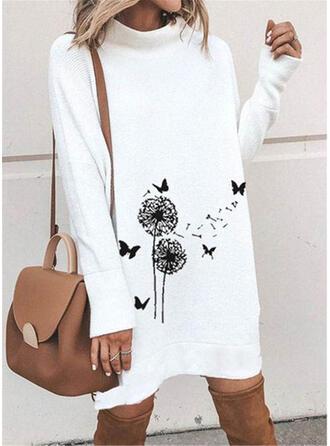 Animal Print Stand Collar Casual Sweater Dress
