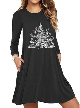 Print Long Sleeves Sheath Above Knee Christmas/Casual Dresses